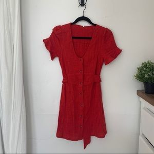 Free People Button Down Red Mini Dress Size Small